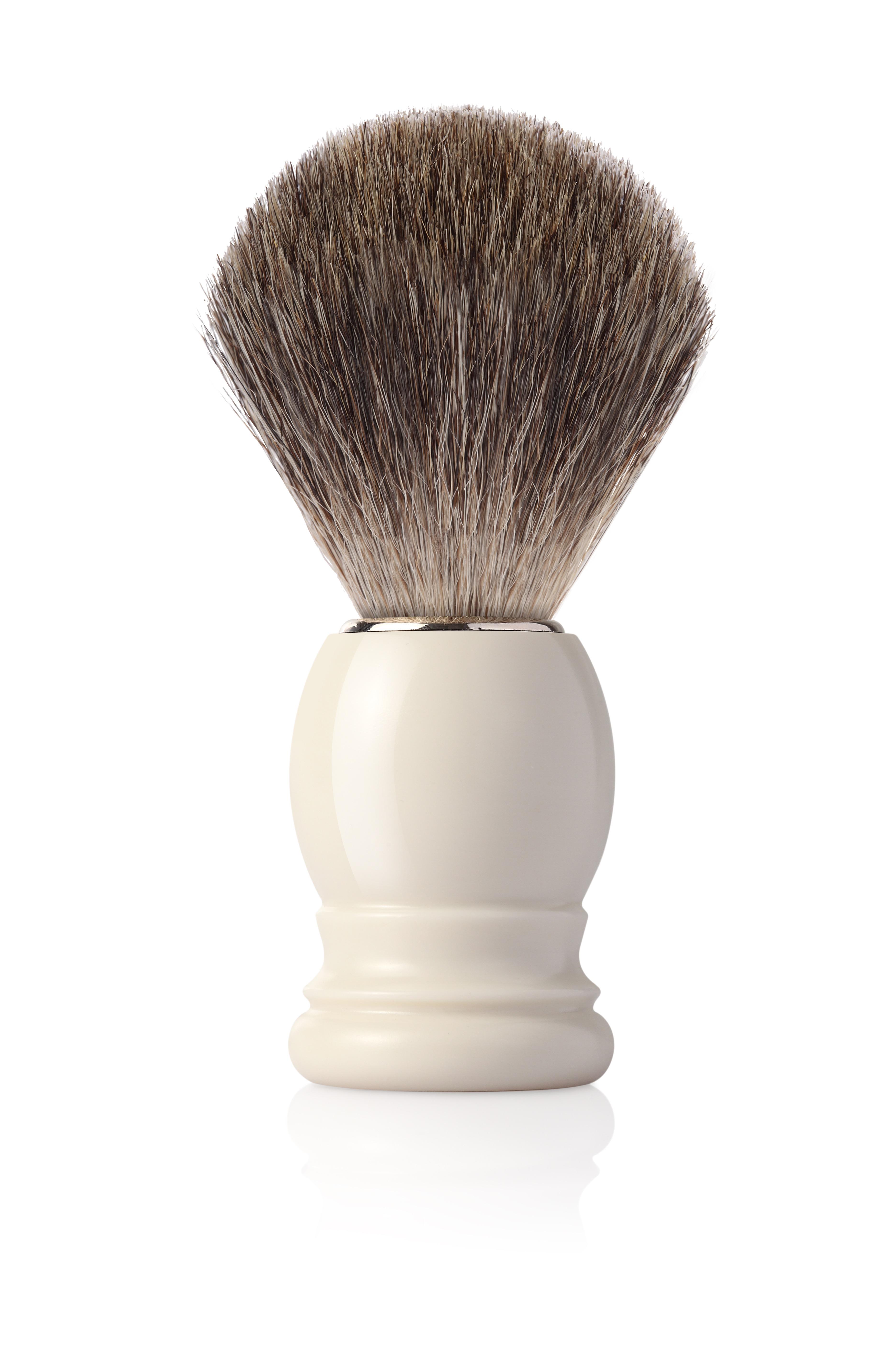Четка за бръснене с естествен косъм от язовец (FINE BADGER) с дръжка цвят слонова кост