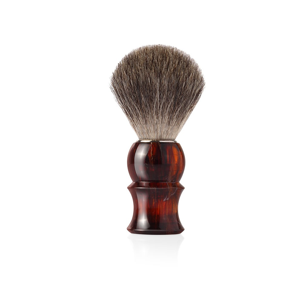 Четка за бръснене с естествен косъм от сив язовец (GREY BADGER) с дръжка в цвят махагон