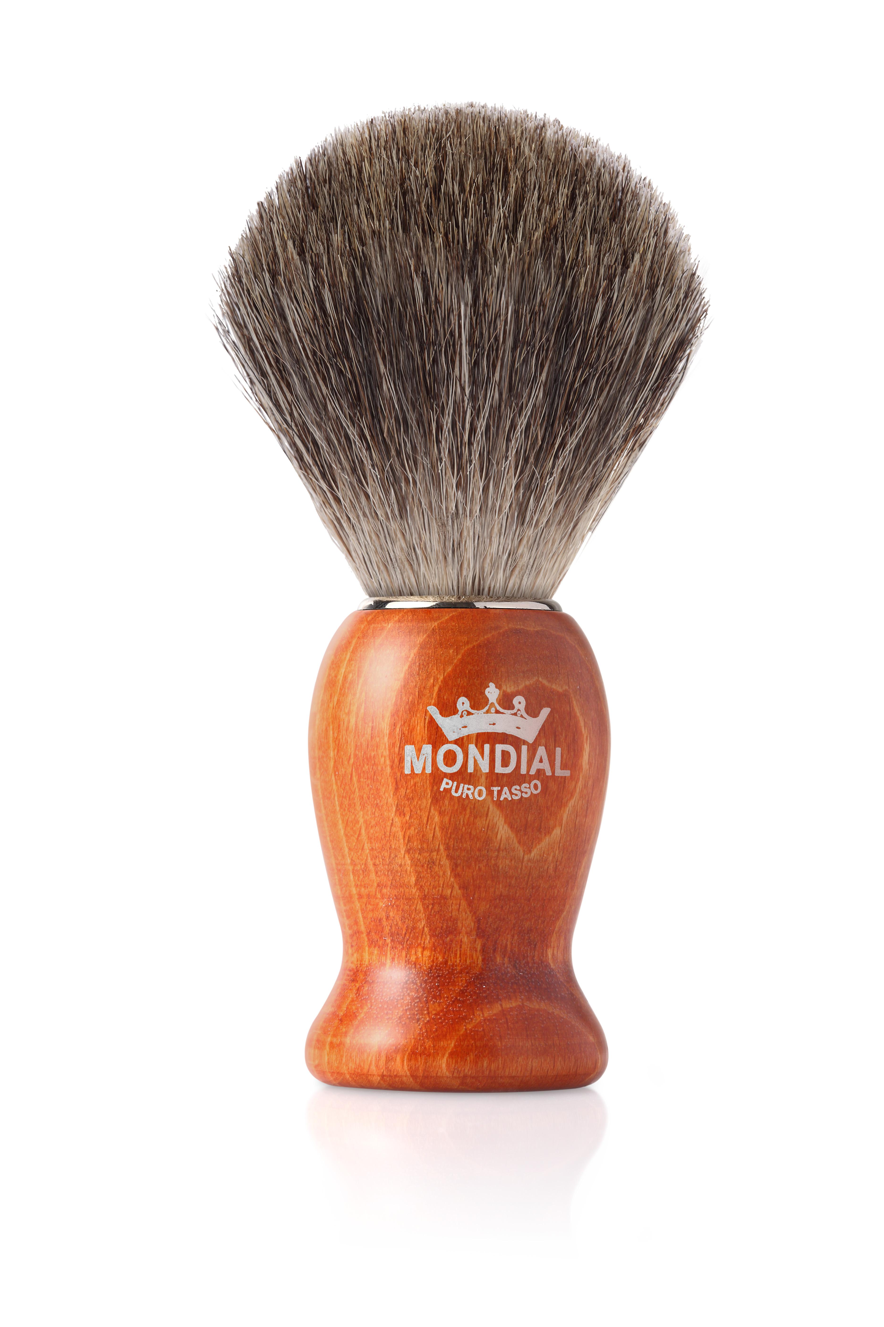 Четка за бръснене с естествен косъм от сив язовец, с дръжка в цвят череша