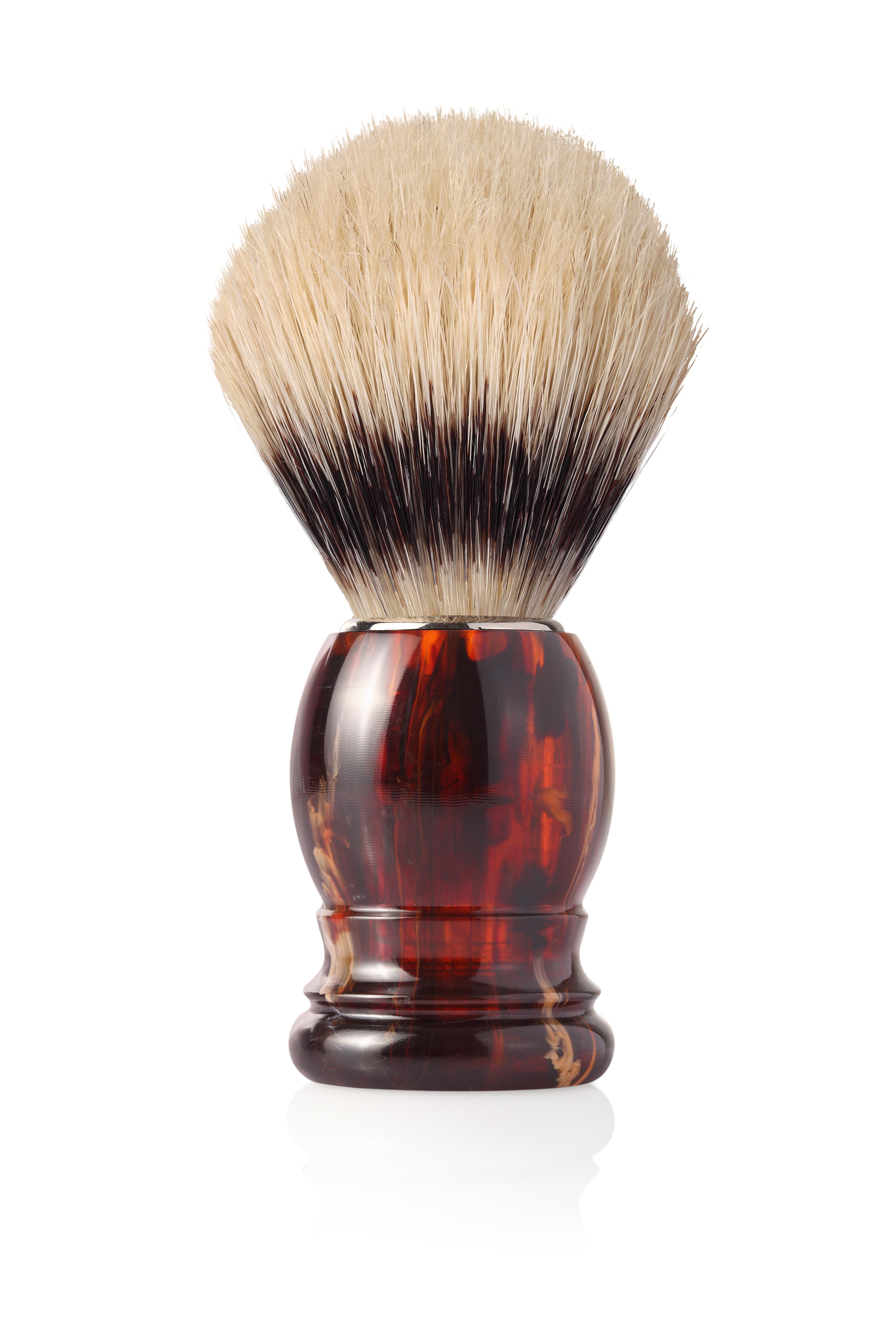 Четка с естествен косъм, пластмасова дръжка махагон